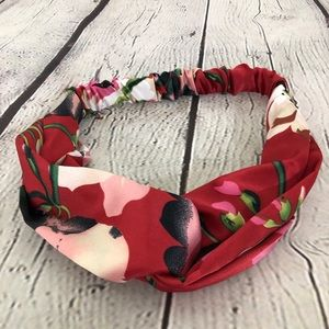 Red Floral Knotted Boho Headband Flowers Satin